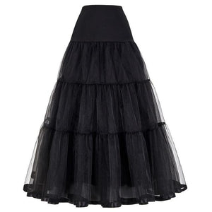 Women Black Red Retro Skirt For Wedding Fashion Vintage Long Skirts Crinolineliilgal-liilgal