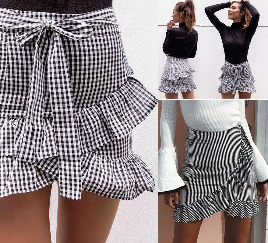 Women's Lady Stretch Plain High Waist Skater Flared Ruffle Plaid Striped Pleatedliilgal-liilgal
