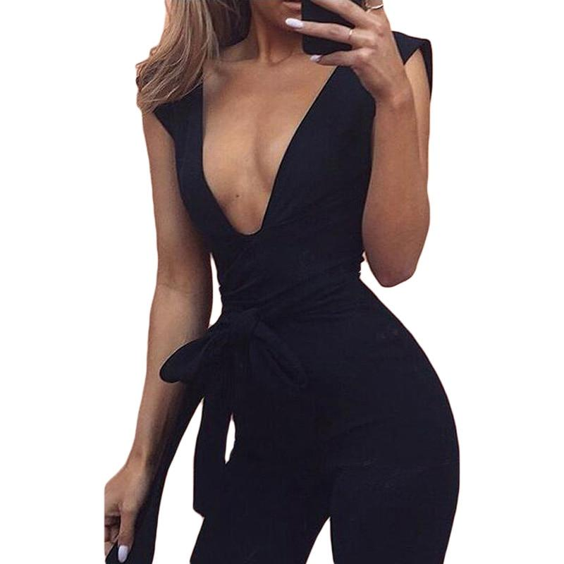 New Arrivals 2017 Black Deep V Fitted Sexy Bodycon Jumpsuit Nightclub Forliilgal-liilgal