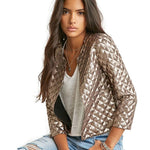 New Brand Spring Style Vogue Lozenge Women Gold Sequins Jackets Three quaterliilgal-liilgal