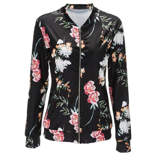 Jacket Women Black O Neck Bomber Jacket 2018 Print Floral Black Coatliilgal-liilgal
