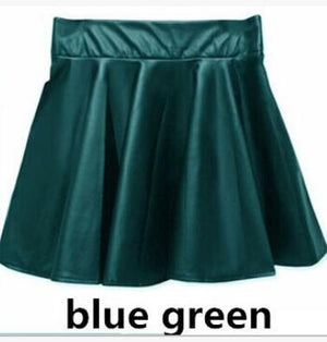 1pcs/lot free shipping european style woman fashion faux leather skirt Pleated Shortliilgal-liilgal