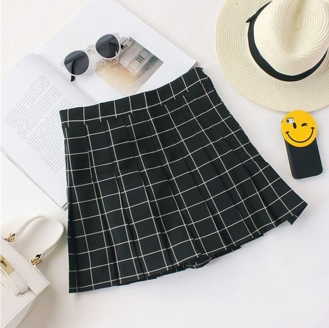 Women Skirts 2018 Summer Women Plaid Kawaii Skirt High Waist Black Whiteliilgal-liilgal