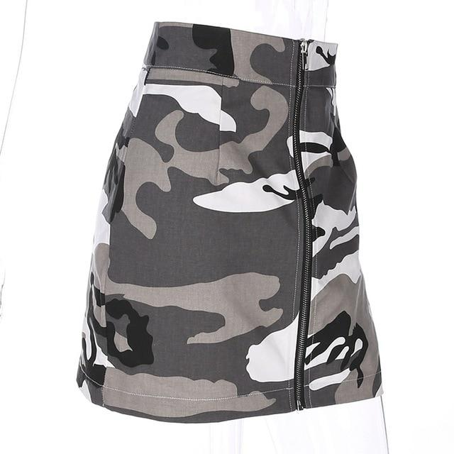 Sexy Camouflage Mini Skirt Women Zipper High Waist Print Short Skirts Fashionliilgal-liilgal