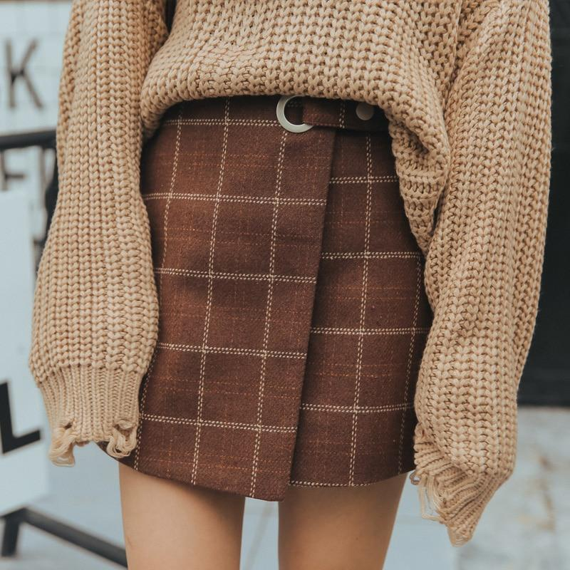 2018 Kawaii Women Skirts Autumn And Winter Thickening Slim Hip Woolen Plaidliilgal-liilgal