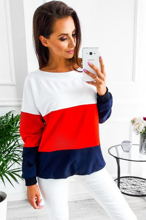 Womens Long Sleeve Striped Top Crew neck Casual Loose Splicing Colors Polyesterliilgal-liilgal