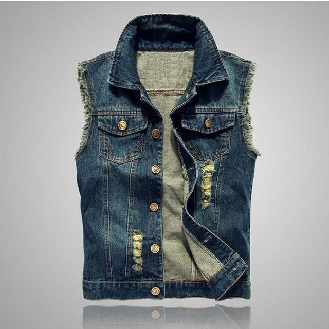 Motorcycle jean vest Sleeveless Jackets for Man Spring-autumn casual fashion Slim Blueliilgal-liilgal