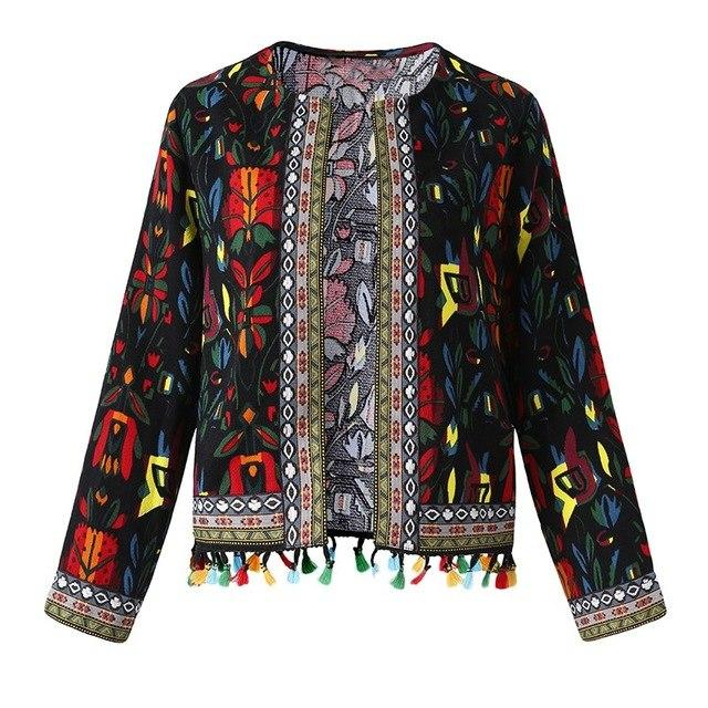 Floral Vintage Women Coat 5XL Plus Size Spring Long Sleeve Tassel Cardiganliilgal-liilgal