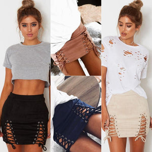 Women High Waist Lace Up Suede Bodycon Hollow Out Pencil Sexy Miniliilgal-liilgal