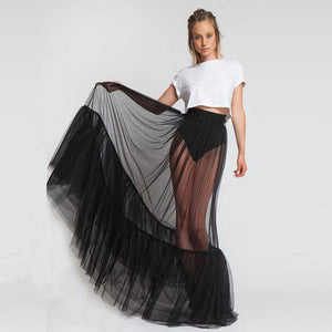 Sexy One Layer Long Tulle Skirt Custom Made Elastic Waistline A Lineliilgal-liilgal