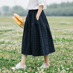 Retro plaid pocket Elastic waist pocket loose A-Line skirt mori girlliilgal-liilgal