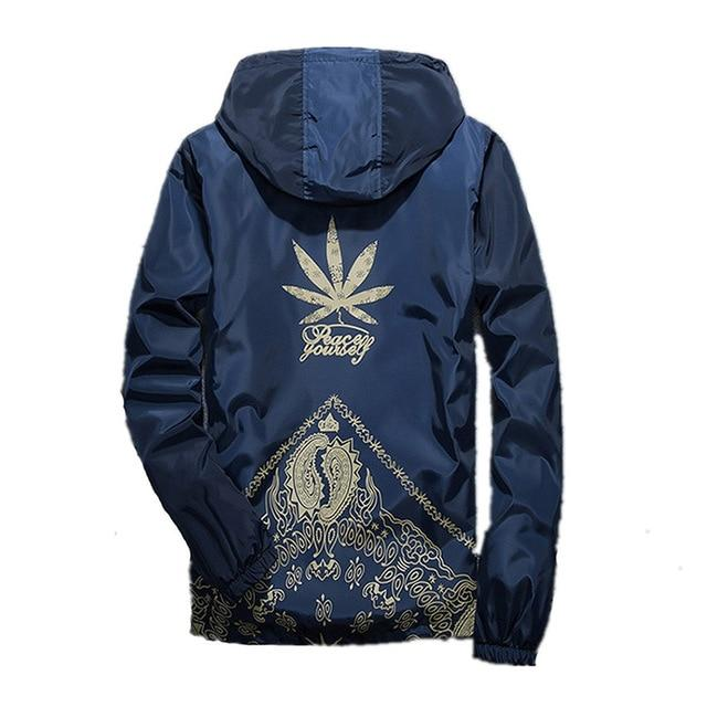 Drop Shipping Casual Hooded White Black Cannabi-s Printing Outerwear Basic Jacket Menliilgal-liilgal