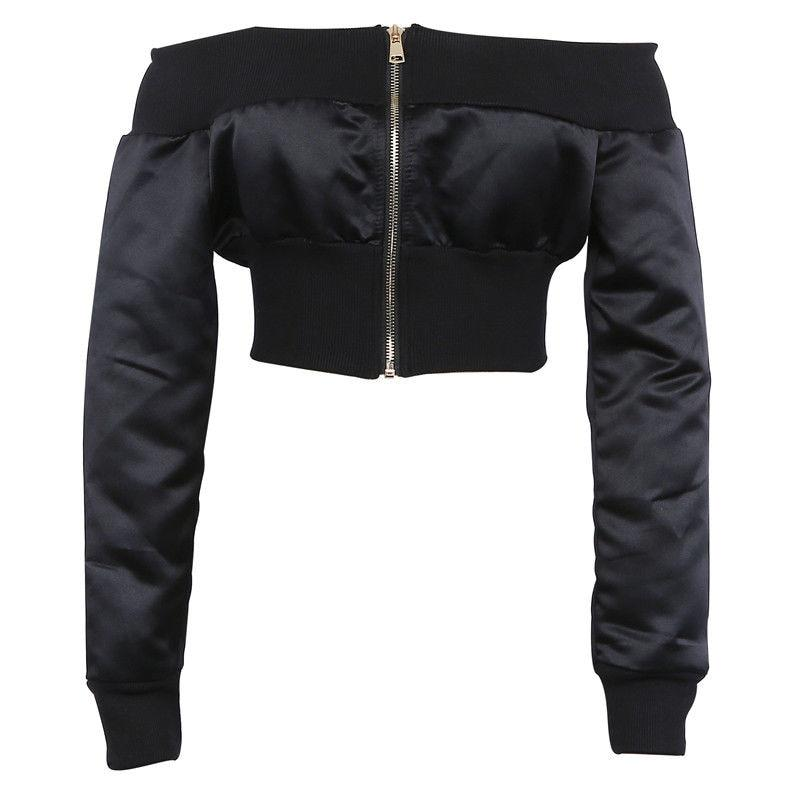 Black And Kakhi Off Shoulder Cropped Bomber Jacket Women Zip up Frontliilgal-liilgal