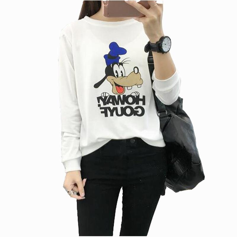 European American Style Womens Hoodies Pullover Cute Cartoon Print Long Sleeve Oliilgal-liilgal