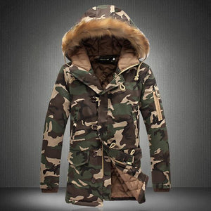 Camouflage Parkas Mens Military Medium long Winter Coat Thickening warm Cotton-padded Jacketliilgal-liilgal