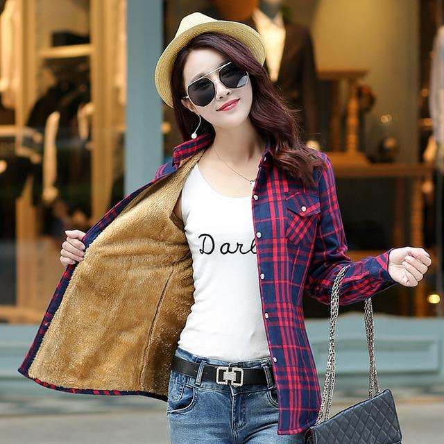 Brand Casual Jacket Women 2018 New Winter Warm Plaid Shirt Style Jacketliilgal-liilgal