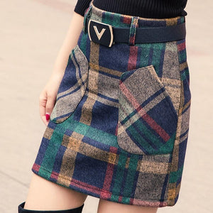 S-3XL New Women's Woolen Blends Skirt Winter 2018 Spring Autumn Fashion Elegantliilgal-liilgal