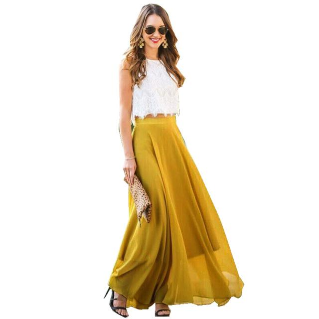 2018 New Long Maxi Chiffon Skirts Women High Waist Skirts Ladies Elegantliilgal-liilgal