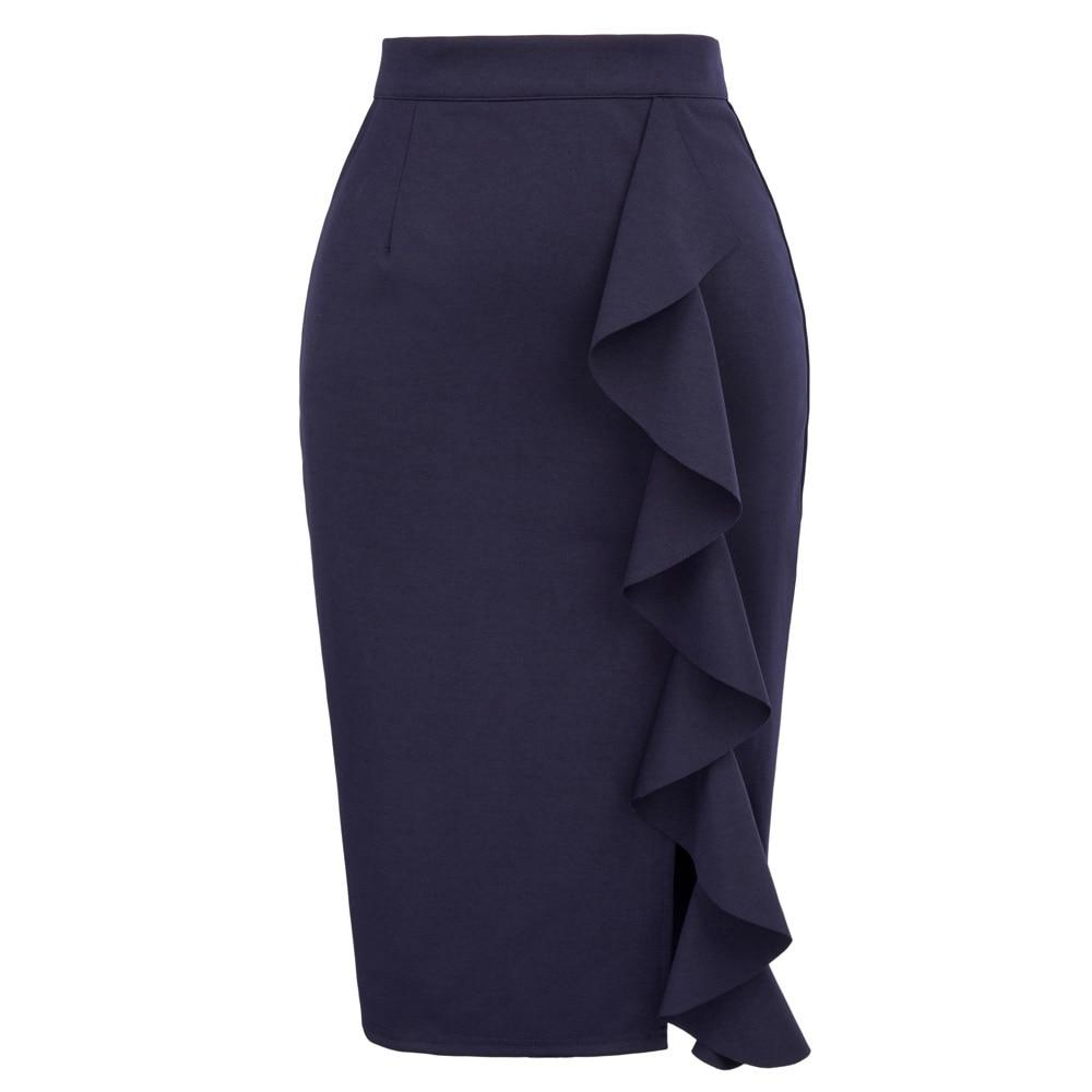 Pencil Skirts Womens 2018 New Sexy Ruffles Skirt Wear to Business Workliilgal-liilgal