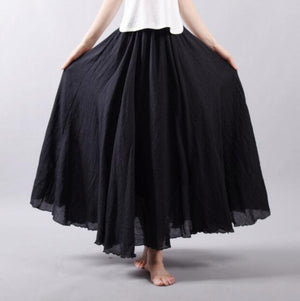 Cotton Long Skirt Women Summer Candy Color Pleated A-Linen Big Circelliilgal-liilgal