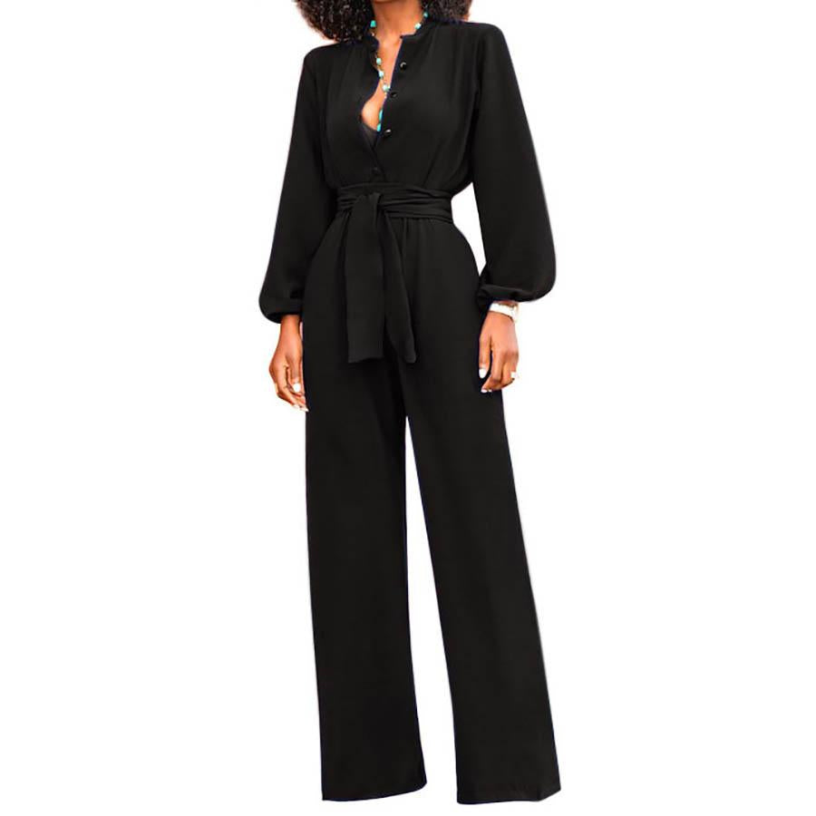 Wide Leg Elegant Jumpsuit Women Long Sleeve Overalls Sexy Office Rompersliilgal-liilgal