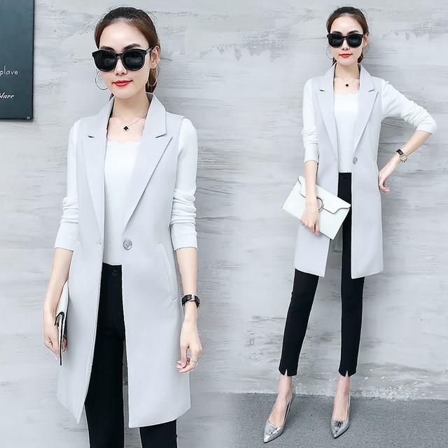 Elegant Suit Vest Women Spring Summer Sleeveless Long Vest Jacket Colete Plusliilgal-liilgal