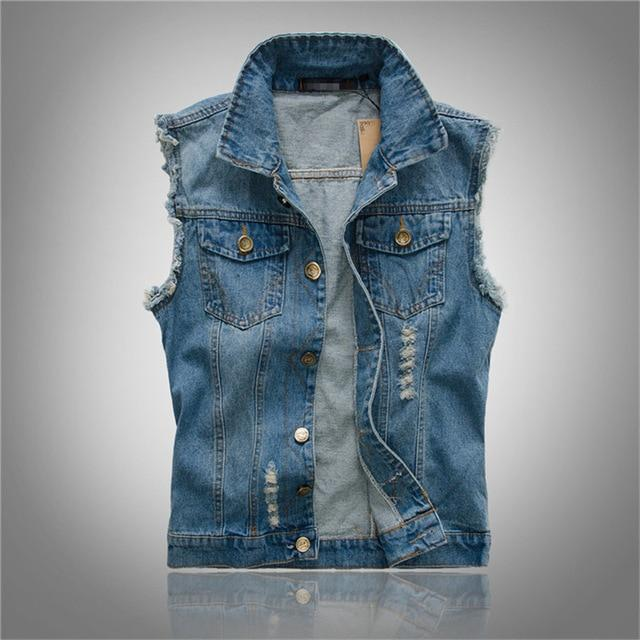 2018 New Fashion Mens Denim Vest Vintage Sleeveless Washed Jackets Jeans Waistcoatliilgal-liilgal