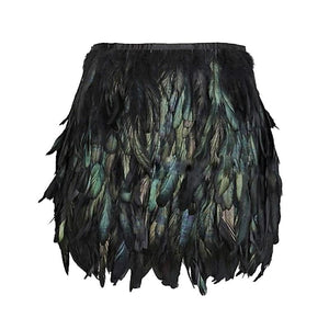 Black Swan Feather Skirt Mini Length Fully Double Layer Fabric Lined Featherliilgal-liilgal