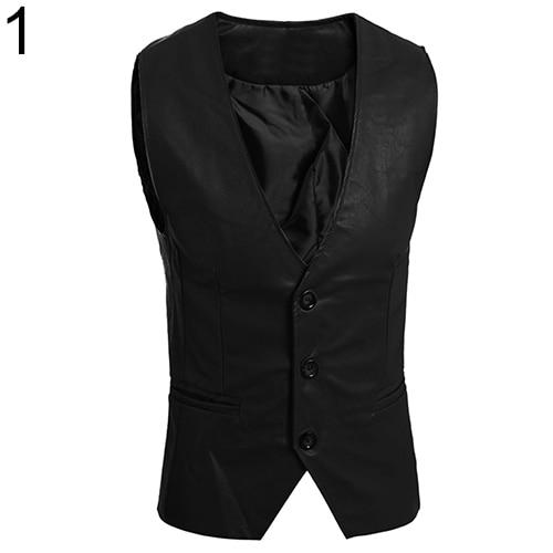 Men's Fashion Simple Design Slim Fit Faux Leather Vest Waistcoat Jacket Coatliilgal-liilgal
