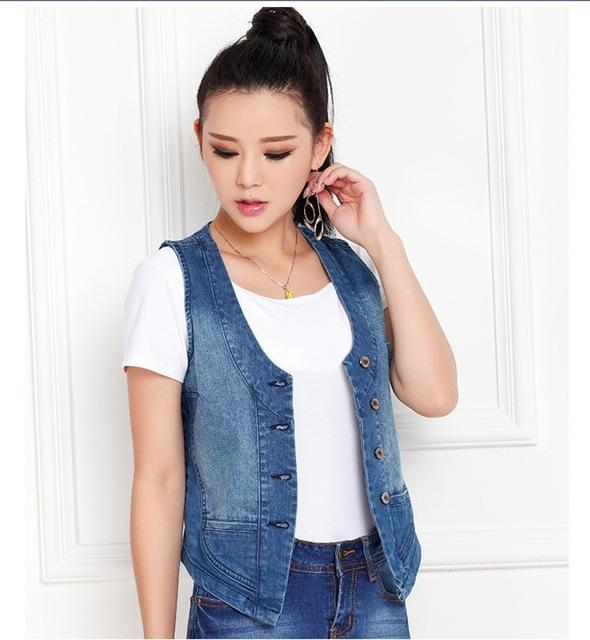 Plus Size S-5XL Women's Denim Vest 2018 Female Sleeveless Jacket Coat Slimliilgal-liilgal