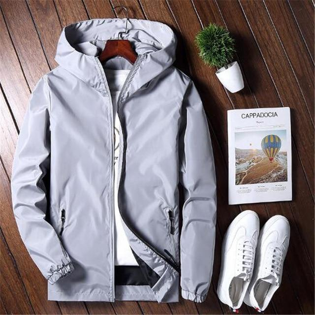 Casual Jacket Men Autumn Spring Outerwear Zipper Mens Reflective Jackets Solid Collegeliilgal-liilgal