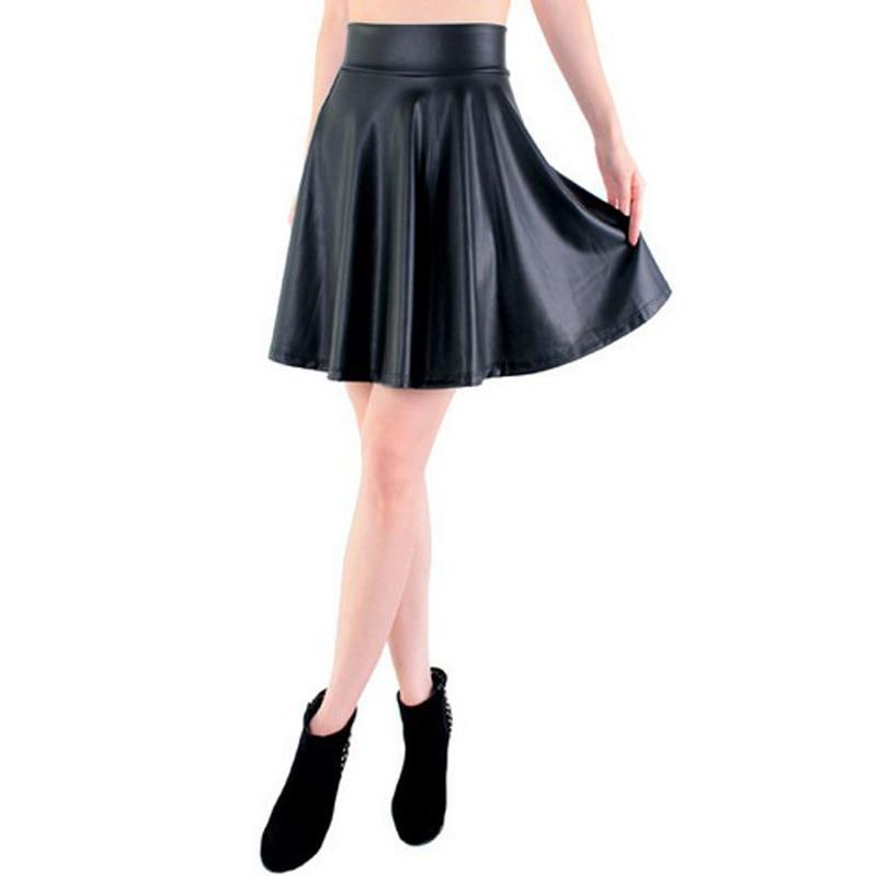 free shipping new high waist faux leather skater flare skirt casual miniliilgal-liilgal
