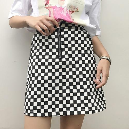 Simple 2018 All Match Casual Summer Korean Style Black White Plaid Highliilgal-liilgal