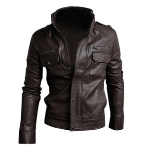 TFGS Men's PU Leather Short Jacket Coatliilgal-liilgal