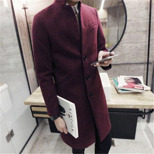 2018 autumn/winter fashion new men leisure pure color trench coat / man'sliilgal-liilgal