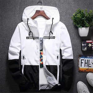 2018 Mens Fashion Jacket Thin Slim Long Sleeve Patchwork Jackets Streetwear Hoodedliilgal-liilgal