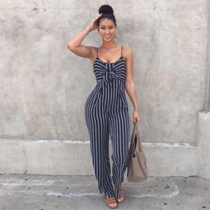 Fashion Women Striped Playsuits Sleeveless With Belt V-neck Jumpsuit Rompers Overalls Bodyliilgal-liilgal