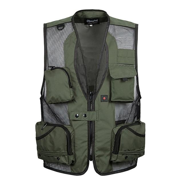 Men Mesh Baggy Sleeveless Vest With Many Pockets Spring Autumn Male Casualliilgal-liilgal