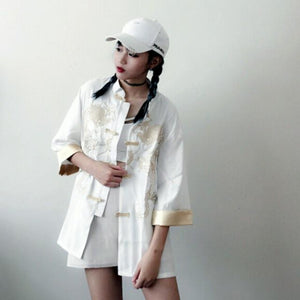 Chic Bomber Vintage Chinese style Harajuku Dragon embroidery Jacket Tang suit satinliilgal-liilgal