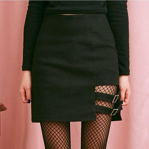 New Arrivals 2018 Summer Women Harajuku Right Leg Hollow Out Skirt Femaleliilgal-liilgal