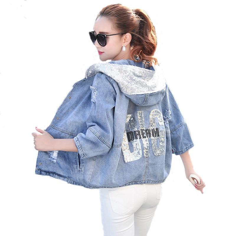 Spring Autumn Oversized Jeans Jacket Women 2017 Loose Sequin Hooded Jean Jacketliilgal-liilgal