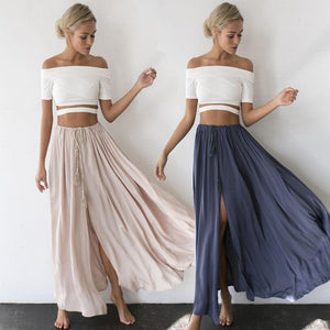 Women's Gypsy Boho Tribal Floral Skirt Maxi Solid Summer Beach Long Casualliilgal-liilgal