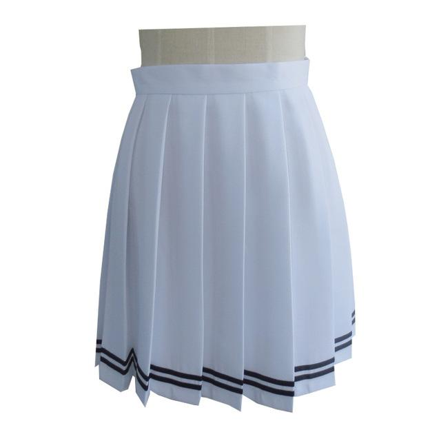 Harajuku Women Pleated Skirt Plus Size 3XL Striped Cosplay Uniform Mini Skirtsliilgal-liilgal