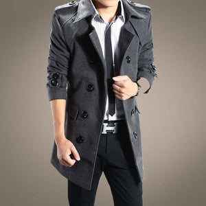 2018 autumn and winter fashion new men's casual double-breasted woolen coat /liilgal-liilgal