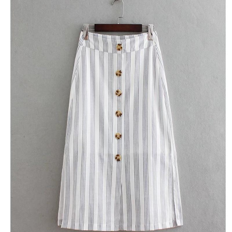 2018 New Women vintage striped buttons linen midi a line skirt ladiesliilgal-liilgal
