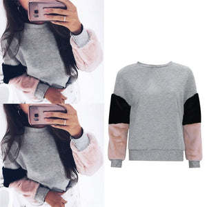 Women Hoodies Hot New Sleeve Color Spell Hoodies Fashion Hot Sale Autumnliilgal-liilgal