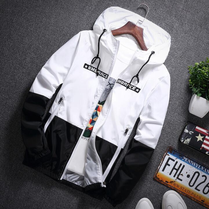 men jacket windbreaker thin patchwork zipper jacketsliilgal-liilgal