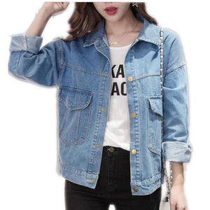 2018 New Fashion Casual Boyfriend Styel Women Short Denim Jacket Female Turn-Downliilgal-liilgal