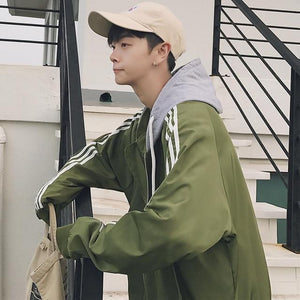 2018 New Men's Hooded Jacket Spring summer Fashion Striped Print Windbreaker Waterproofliilgal-liilgal