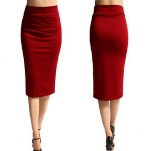 New Ladies Office Stretch Bodycon Midi Skirt Women Pencil Skirt Female Highliilgal-liilgal